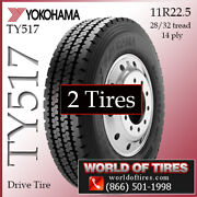 Yokohama Ty517 2 Commercial Tires 11r22.5 With Free Shipping