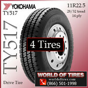 Yokohama Ty517 4 Commercial Tires 11r22.5 With Free Shipping