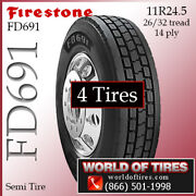 Firestone Fd691 4 Commercial Tires 11r24.5 With Free Shipping