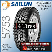 Sailun S753 4 Commercial Tires 285/75r24.5 With Free Shipping