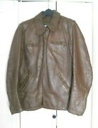 Vintage Bates Motorcycle Leather Jacket Brown Late 1960and039s - Early 1970and039s. Ds