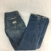 Paper Denim And Cloth Womens Ripper Jeans Blue Paint Splatter Distressed Cotton 26