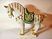 Asian Large Tang Dinasty Style Tri-color Pottery Ceramic Horse Figurine Statue