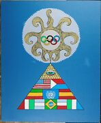 Angelo Romano, Vintage Acrylic Painting On Paper Board, Olympic Subject Abstract