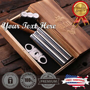 Personalized Cigar Holder With Whiskey Flask And Cutter Engraved Father's Day Gift