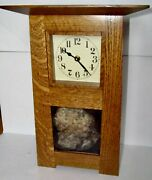 Handcrafted Arts And Crafts Quartersawn White Oak Mantel Clock Petrified Palm Root