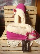 Bearpaw Nicole Fushia Indoor Outdoor Slippers Suede And Wool Sherpa Lined