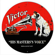 Victor Phonographs His Masters Voice Aged Looking Reproduction Metal Sign