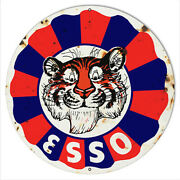 Esso Tiger Gas And Motor Oil Garage Art Aged Looking Reproand039d 24 Metal