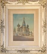 Framed Antique Large Hand Colored Photo Of Russian Cathedral Of St. Basil Moscow