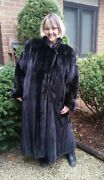 Stunning Ranch Mink Coat Full Length Tuxedo Style L-xl Professionally Stored