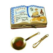 Rochard Limoges Cookbook Crepes Suzettes W/ Whisk And Spoon Trinket Box
