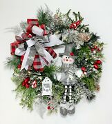 Christmas Flocked Evergreen Front Door Lighted Wreath Snowman Holiday Gift New