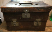 Antique Trunk / Chest Style Doctors Bag, 2 Tier, Leather, 3 Locks W/ Keys, As Is