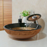 Bathroom Artistic Glass Vessel Sink Waterfall Faucet With Pop-up Drain Combo Set