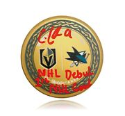 Cody Glass Signed Inscribed 1st Goal And Nhl Debut Matchup Puck Bas Coa Vegas