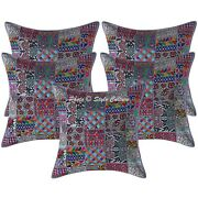 Indian Cotton Pillow Covers Grey 60cm Vintage Patchwork Bohemian Cushion Covers