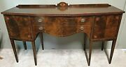 Antique 19th Cent Sheraton Federal Style Mahogany Marquetry Buffet Sideboard 70