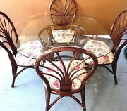 Vtg Mcm Alexvale Furniture Co Nc Bamboo Thonet Rattan Glass Table And 4 Chairs