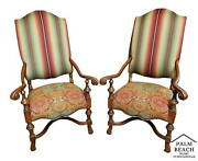 Pair Of Antique 1930and039s French Louis Xiv Style Carved Throne Armchairs