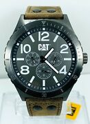 Cat Caterpillar Menand039s Ni.159.35.535 Sports Multifunction Leather Strap Watch