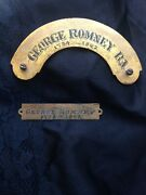 2 Original George Romney R.a. Nameplate Title Plaque For Frame Or Painting