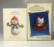 Lot Of 2 Hallmark Keepsake Ornaments Welcome Friends And Puppy Love
