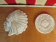 Vintage 1950s Ymca Indian Guide Chalkware Plaque Pair Father And Son Pals Forever