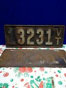 Collectible Vermont License Plate 1916 13231 Vt. Two Vintage