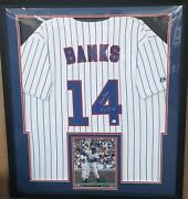 Ernie Banks Chicago Cubs Autographed Jersey Matted In A Premium30x34 Frame