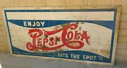 Rare Vtg Antique 1930and039s 1940and039s Stamped Metal Pepsi Cola Hits The Spot 8x4 Sign