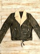 Dsquared Biker Shearling Leather Jacket S 48 Coat Motorcycle Jeans Dsquared2