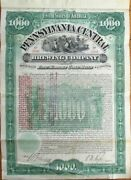Beer 1897 Gold Bond Certificate Pennsylvania Central Brewing Co. - Brewery Pa