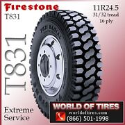 Heavy Duty Commercial Tires Firestone T831 11r24.5 4 Tires Free Shipping
