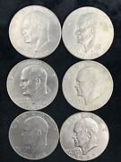 Lot Of 6 U.s President Eisenhower One Dollar Coins Years 5x-1976, 1x-1977