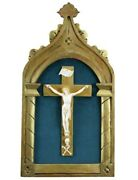 Antique Hand Carved Gilt Wood Wall Crucifix Cross Skull