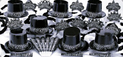 Black And White New Years Eve Party Accessories Kit Party Supplies For 10 People