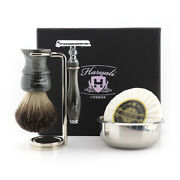 Metal Shaving Resin Kit - Five Pieces Safety Razor Brush And Soap Bowl Stand