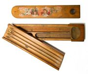 Late 19th C Antique Hand Painted Decorative Decaled Wood Pencil Box W/slide Top