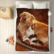 Personalized Photo Fleece Blanket Custom Picture Collage Throw Home Decor Gift