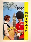 Rare 1950and039s Jet B.o.a.c. Britain Litho Print Collectors Airline Travel Poster