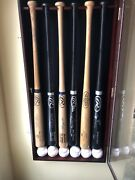 Texas Rangers Autographed Bat And Ball Medley In Display Case