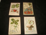 4 Vintage Antique Early 1900s New Years Four 4 Leaf Clover Irish Postcards Rare