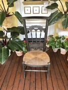 Antique Rare French Wood Childs School Chair W/rush Seat Wonderful Condition...