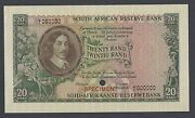 South African 20 Pounds Nd 1962-1965 P108s Specimen Uncirculated