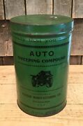 Vintage 3 Qt Auto Sweeping Compound Paxon Manufacturing Oil Tin Can Car Graphic