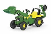 Licensed Rolly Junior John Deere Tractor With Frontloader And Rear Excavator