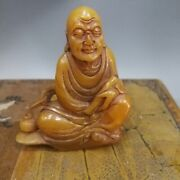 Chinese Old Natural Carved Tianhuang Shoushan Stone Buddhist Monk Statue Seal