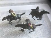 Vintage Lead Figures On Horses Lot Of 3 Missing Arms France Gm
