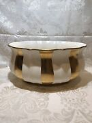 Laurie Gates Large Bowl Gold Stripes10 3/4andrdquo